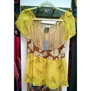 Anthropologie Fei Sheer Floral Blouse - Size 10